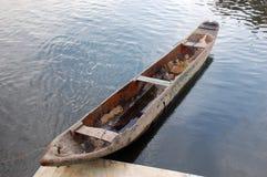 Amazon Canoe. The typical amazon canoe made from a single trunk Stock Photo