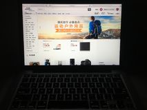 Amazon china website homepage on laptop screen royalty free stock image