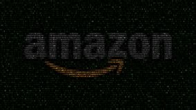Amazon.com logo made of flashing hexadecimal symbols on computer screen. Editorial 3D rendering
