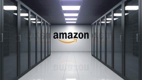 amazon com logo na ścianie serweru pokój Redakcyjna 3D animacja zbiory
