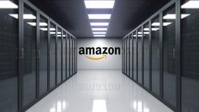 amazon com logo na ścianie serweru pokój Redakcyjny 3D rendering ilustracji