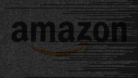 amazon com logo robić źródło kod na ekranie komputerowym Redakcyjny 3D rendering Zdjęcie Royalty Free