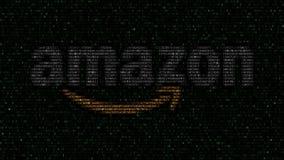 amazon com logo robić heksadecymalni symbole na ekranie komputerowym Redakcyjny 3D rendering Fotografia Stock