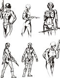 Amazon Cyborgs. Set of black and white vector illustrations Stock Photos