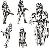 Amazon Cyborgs. Set of black and white vector illustrations Royalty Free Stock Images