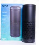 Amazon echo. LEEDS, UK – 5 JANUARY 2017  Amazon Echo Alexa smart assistant Royalty Free Stock Photos