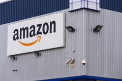 Amazon electronic commerce company logo on logistics building on March 12, 2017 in Dobroviz, Czech republic Stock Photos