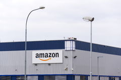 Amazon electronic commerce company logo on logistics building on March 12, 2017 in Dobroviz, Czech republic Royalty Free Stock Photography