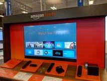 Amazon Fire TV Display inside Best Buy Store. Honolulu - September 7, 2018: Amazon Fire TV Display inside Best Buy Store. Amazon Fire TV is a digital media royalty free stock photo