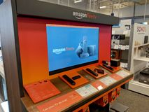 Amazon Fire TV Display inside Best Buy Store. Honolulu - September 7, 2018: Amazon Fire TV Display inside Best Buy Store. Amazon Fire TV is a digital media royalty free stock photos