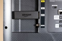 Amazon Fire TV streaming stick in SmartTV Stock Photos