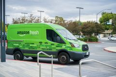 Amazon Fresh van making deliveries in San Francisco bay area. November 8, 2017 San Jose/CA/USA - Amazon Fresh van making deliveries in San Francisco bay area royalty free stock photos