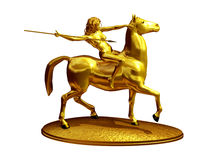 Amazon. On horseback in gold, 3d Illustration Royalty Free Stock Images