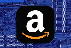 Amazon icon placed on circuit board stock images