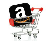 Amazon icon placed into shopping cart royalty free stock images