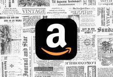 Amazon icon on retro newspaper background vector illustration
