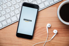 Amazon the largest internet retailer in United States. SARAWAK, MALAYSIA -April 27th,2016: Amazon apps on iphone screen. Amazon owned by Amazon Inc., the largest Stock Image