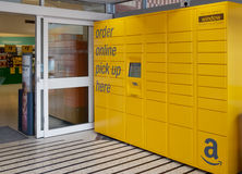 Amazon locker pickup in UK supermarket royalty free stock photos
