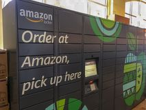 Amazon Locker sitting inside a Whole Foods location in Washington, DC stock images