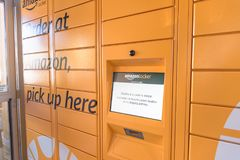 Amazon Locker at Whole Foods store entrance in Houston, Texas, U stock photos