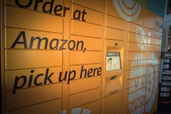 Amazon Locker at Whole Foods store entrance in Houston, Texas, U stock photography