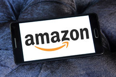Amazon logo. Amazon application logo and vector on samsung mobile phone a5 Royalty Free Stock Photo