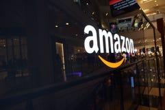 Amazon logo on black shiny wall in San Francisco mall Stock Images