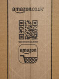 Amazon logo cardboard box Stock Image
