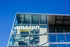 Amazon logo at office building, Munich Germany. MUNICH, GERMANY - DECEMBER 26, 2018: Amazon logo at the company office building located in Munich, Germany stock photos