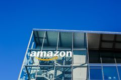 Amazon logo at office building, Munich Germany. MUNICH, GERMANY - DECEMBER 26, 2018: Amazon logo at the company office building located in Munich, Germany stock images
