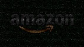 amazon logotipo de COM hecho de símbolos hexadecimales que destellan en la pantalla de ordenador Representación editorial 3D almacen de video