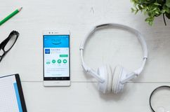 Amazon Music is a service that offers legal streaming music. WROCLAW, POLAND - MARCH 29, 2018: Amazon Music is a service that offers legal streaming music stock photo