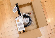 Amazon Premium Red and High quality Duronic FTP CAT6a cable Royalty Free Stock Photo