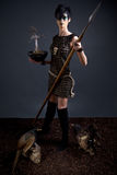 Amazon-priestess with holy tree and spear Royalty Free Stock Photo