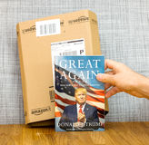 Amazon Prime box and Great again book by Donald Trump US preside Royalty Free Stock Image