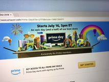 Amazon prime day page. Amsterdam, the Netherlands - July 9, 2018: Website of Amazon prime day page on the official amazon homepage. Amazon Prime Day is a members stock photo