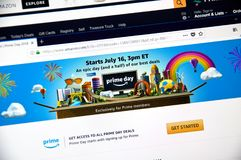 Amazon prime day page on official amazon site Stock Photography