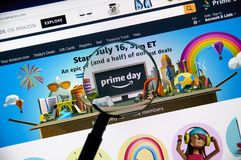Amazon prime day page on official amazon site. MONTREAL, CANADA - JULY 3, 2018 : Amazon prime day page on official amazon site under magnifying glass. Amazon stock photography