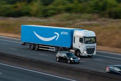 Amazon Prime Lorry in motion Stock Photo