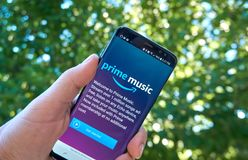 Amazon Prime Music mobile app on Samsung s8. stock images