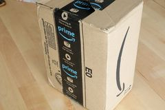 Amazon Prime Package Box. Roquebrune-Cap-Martin, France, September 5, 2018: Amazon Package Box Cardboard Delivery From Amazon Prime, Closeup View. Amazon Prime royalty free stock photography