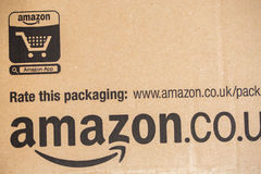 Amazon Prime Parcel Package. Amazon, is an American electronic commerce and cloud computing com Royalty Free Stock Photos