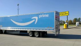 Amazon prime semi truck driving in truck stop