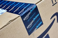 Amazon Prime shipping box. MONTREAL, CANADA - MARCH 28, 2017: Amazon Prime shipping box with branded tape on it. Amazon is an American electronic commerce and stock image