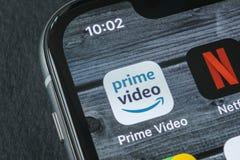Amazon Prime Video application icon on Apple iPhone X screen close-up. Amazon PrimeVideo app icon. Amazon Prime application. Socia. Sankt-Petersburg, Russia royalty free stock photos