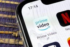 Amazon Prime Video application icon on Apple iPhone X screen close-up. Amazon PrimeVideo app icon. Amazon Prime application. Socia. Sankt-Petersburg, Russia royalty free stock photo