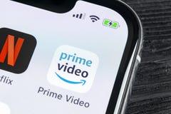 Amazon Prime Video application icon on Apple iPhone X screen close-up. Amazon PrimeVideo app icon. Amazon Prime application. Socia. Sankt-Petersburg, Russia stock photo
