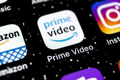 Amazon Prime Video application icon on Apple iPhone X screen close-up. Amazon PrimeVideo app icon. Amazon Prime application. Socia. Sankt-Petersburg, Russia stock images