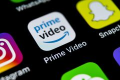 Amazon Prime Video application icon on Apple iPhone X screen close-up. Amazon PrimeVideo app icon. Amazon Prime application. Socia. Sankt-Petersburg, Russia royalty free stock photography