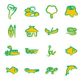 Amazon Rainforest Icons Freehand 2 Color Stock Images